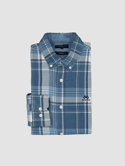Indigo Blue Check Skjorte- Regular-Fit ECN